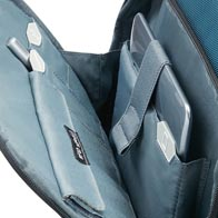 Punctual internal organization with icons, including a RFID-shielded pouch in front pocket.